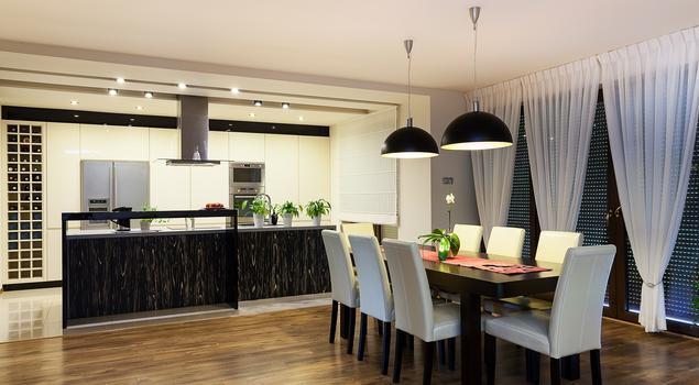 Nowoczesna kuchnia z jadalnią w eleganckim wydaniu -> Projekt Domu Kuchnia Z Jadalnia